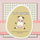 New baby girl shower card with cow — Stock Photo