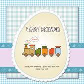 Carte de douche de bébé avec train jouet — Photo