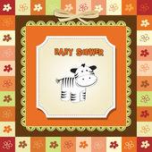 Childish greeting card with zebra — Stock Photo