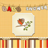Welcome baby card with funny little bird — Stock Photo