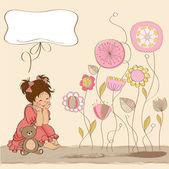 可爱的小女孩玩玩她的玩具熊玩具 — 图库照片