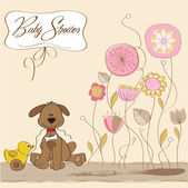 Baby shower card with dog and duck toy — Stock Photo