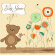 New baby announcement card with teddy bear and flower — Stock Photo