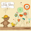 Stock Photo: Welcome baby card with boy teddy bear and his duck