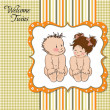 Baby twins template shower card — Stock Photo