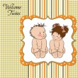 Baby twins template shower card — Stock Photo #9455738