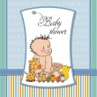 New baby boy template shower card — Stock Photo