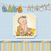 Chlapec šablony sprcha blahopřání k narození dítěte — Stock fotografie