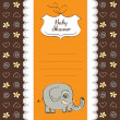 Stock Photo: Baby shower card with elephant