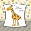 Baby announcement card with giraffe - Stock Photo