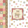 Childish baby shower card with hippo toy — Stok fotoğraf