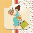 Stock Photo: Beautiful pregnant young women at shopping