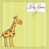 Baby shower card with giraffe toy — Stock Photo