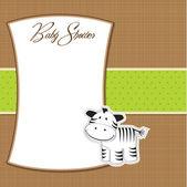 Baby shower card with zebra — Stock Photo