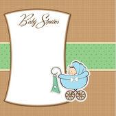 Baby boy oznámení karta s dítětem a kočárkem — Stock fotografie
