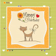 Greeting card with cat - Stok fotoraf