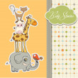 Baby shower card with funny pyramid of animals — Stock Photo #9679638