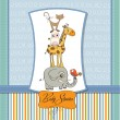 Baby shower card with funny pyramid of animals - Stok fotoraf