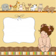 Stock Photo: New baby shower card with little naked baby girl
