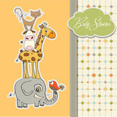 Baby shower card with funny pyramid of animals — Stok fotoğraf