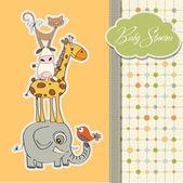 Tarjeta de ducha de bebé con pirámide gracioso de animales — Foto de Stock