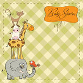 Baby shower card with funny pyramid of animals — Stock Photo
