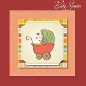 Baby shower card with funny pram — Stock Photo
