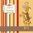 Birhday cartoon card with pyramid of animals — Stock Photo