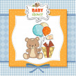 Baby shoher card with cute teddy bear — Stock Photo