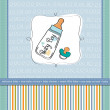 Baby boy shower card with milk bottle and pacifier — Stock Photo