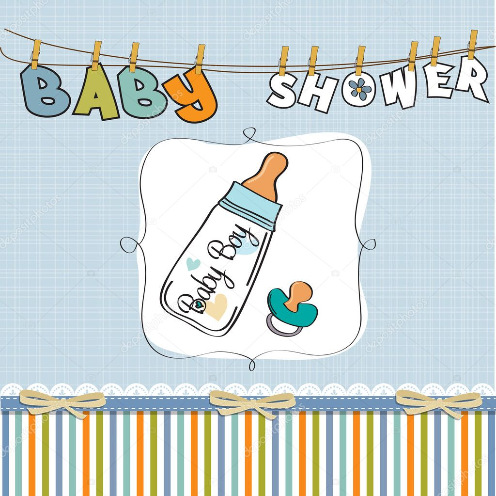 Baby boy shower card with milk bottle and pacifier — Stock Photo #9872570