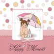 New baby girl shower card - Stock Photo