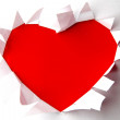 Stock Photo: Red heart in white paper