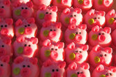 Pink pigs as marzipan deserts — Stock Photo