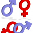 Stock Photo: Male and female signs 3d