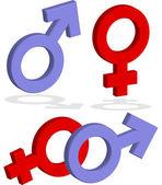 Männlich und weiblich Zeichen 3d — Stockfoto