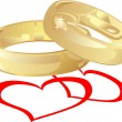 Vector golden wedding rings with hearts — Stock Vector #10411355