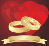 Vector golden wedding rings with hearts — Stock Vector
