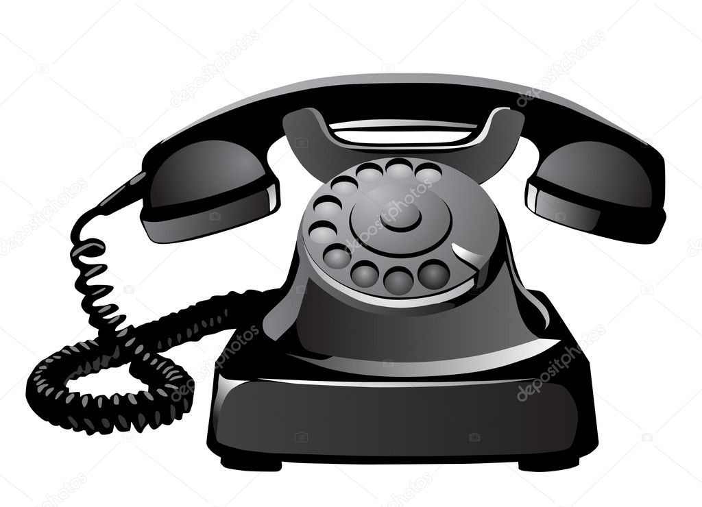Old telephone on white background — Stock Vector #10411323