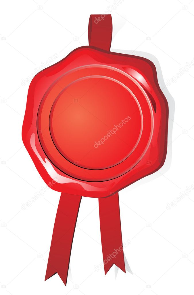 Wax red seal on white background — Stock Vector #10449900