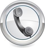 Ikona webové černý telefon — Stock vektor
