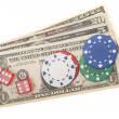 American dollars with poker-chips and dice — Stock Photo