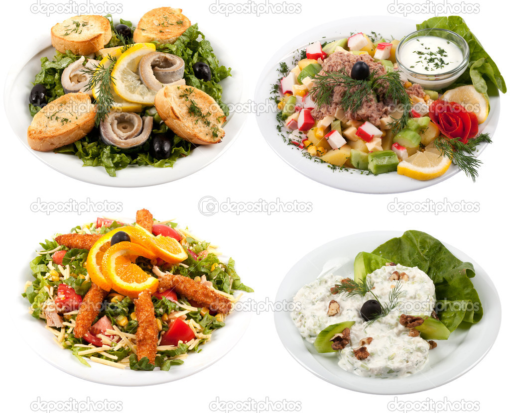 Set With Different Salads On White Background Stock Photo 72470464 ...