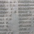 Names on military war memorial — ストック写真