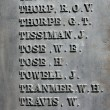 Names on old war memorial — Stockfoto