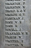 Names on old war memorial — Stock Photo