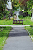 Path and bench in old cemetery — Stock Photo