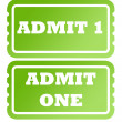 Admit one green tickets — Stock Photo
