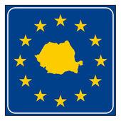 Rumänien-straßenschild — Stockfoto