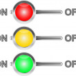 Stock Vector: Three colored switches